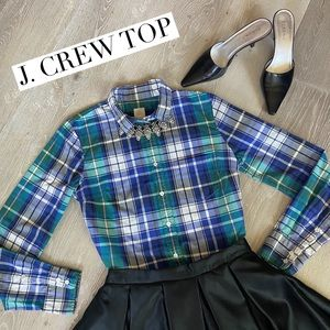 "J. CREW Plaid Button Down ""The Boy Shirt"" Size 4"